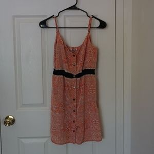 Printed Front Button Summer Dress - Mini